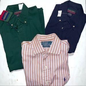 Bundle of 3 Men's Button Down Shirts Polo & SB NWT